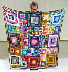 "Inspiration :: ""Babette"" blanket done with granny squares, by Ellblo on Ravelry #crochet #afghan #throw"