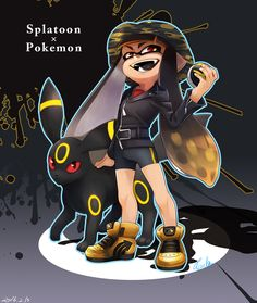 1girl bike_shorts black_hair blonde_hair domino_mask fangs gradient_hair hat inkling jacket leather leather_jacket long_hair looking_at_viewer mask multicolored_hair open_mouth pointy_ears poke_ball pokemon pokemon_(creature) red_eyes red_sclera splatoon standing tentacle_hair tentacles ultra_ball umbreon