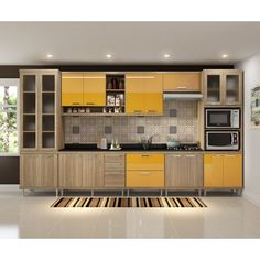 Cozinha Compacta Almafuerte 17 PT 5 GV Argila e Amarelo Kitchen Cupboard Designs, Kitchen Design Open, Best Kitchen Designs, Interior Design Kitchen, Modern Kitchen Interiors, Modern Kitchen Cabinets, Kitchen Decor, Kitchen Layout Plans, Kitchen Modular