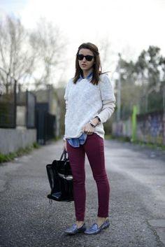 denim shirt/ sweater