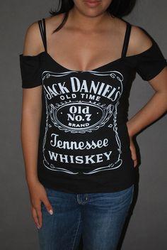 034f662aa42e4 DIY Jack Daniels Top Shirt Whiskey Bar Rocker Chick Glam Rock XS-XL