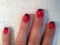 Black and red shellac with nail art