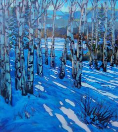 Long Distance Shadows 20X18 - David Langevin Winter Landscape, Landscape Art, Landscape Paintings, Painting Snow, Winter Painting, Canadian Painters, Canadian Artists, Winter Trees, Winter Art