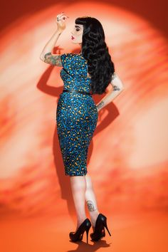 Deadly Dames Poison Ivy Dress in Blue Leopard