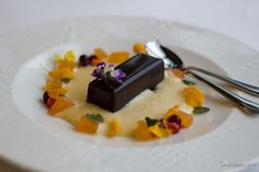 Dorpat hotel Tarto Estonia  Chocolate delice with rose sparkling wine sauce and pressed melon