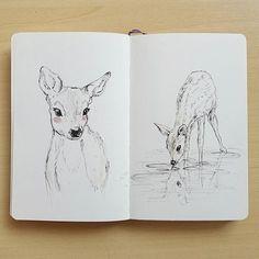 """Dear, oh deer. Couple of quick moleskine sketches."" Deer sketches in moleskine by Raahat Kaduji"