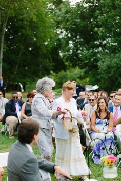 When one couple wanted to give their grandmothers an official role in their outdoor summer wedding, they asked the ladies to be their flower girls for a chance to walk down the aisle. WE DID THIS!
