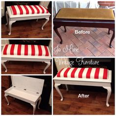 Refurbished piano stool - this was a custom job & what a difference paint & new upholstery can make www.facebook.com/jomarievintagefurniture