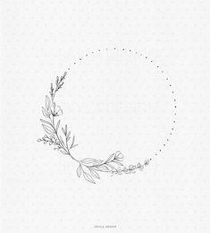 Mini Tattoos, Small Tattoos, Hand Embroidery Patterns, Embroidery Designs, Kranz Tattoo, Flower Wreath Illustration, Kalender Design, Wreath Tattoo, Wreath Drawing