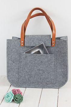 Grey voelde tote tas, Tote, groot formaat, voor winkels, shopper tas, lederen handgrepen, tote tas, vilt, schoudertas tote