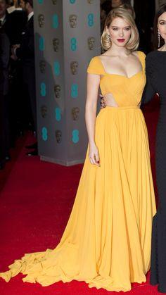 Lea Seydoux, wearing Prada, attends the BAFTA Awards on February 8, 2015 in London, England. | http://aol.it/1FqL1Ta via @stylelist