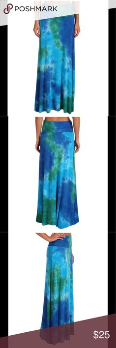 Lucky Brand Maxi Skirt Sensational Lucky Brand maxi skirt/dress/cover-up. Breezy skirt boasts a tie-dye print in colors reminiscent of the Caribbean. Comfortable slip on design. 94% Rayon/6% Spandex. Lucky Brand Skirts Maxi