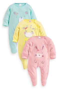 Buy Three Pack Pastel Animal Sleepsuits (0mths-2yrs) from the Next UK online shop