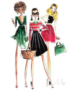 'Brunch Girls' by Diary Sketches. Picture Frames Online, Collage Picture Frames, Fashion Artwork, Art Prints For Home, Fashion Sketches, Online Art, Drawings, Book Illustrations, Fashion Illustrations