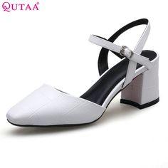 522976f6233 QUTAA 2017 Women Pumps Square Low Heel PU leather Pointed Toe Black  Slingback Checkered Elegant Ladies