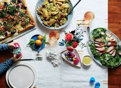 A stunning rainbow carrot tart, crisp-skinned duck breasts, and an unforgettable rhubarb dessert set the stage for an elegant, leisurely gathering.