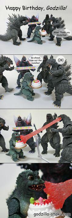 comic for celebrating Godzilla's birthday Godzilla Figures, Godzilla Comics, Godzilla 2, Godzilla Birthday, Caleb, Marvel Films, King Kong, Wedding Humor, Monster