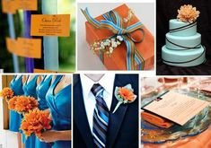 #blue and #orange weddings