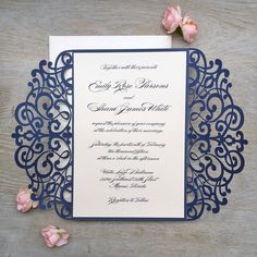 EMILY  ♥ This invitation can be customized to match the colors of your event. Please ask for more details and available color options.  FEATURED COLORS ~ Laser cut gatefold in Glittering Navy ~ Printing on Pale Peachy Pink Card Stock ~ Pale Peachy Pink Ribbon ~ Pale Peachy Pink Envelopes  DIMENSI