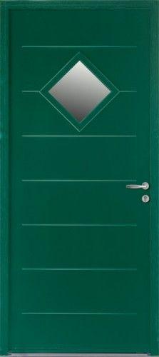 Porte acier, Porte entree, Bel'm, Contemporaine, Poignee rocase couleur argent, Petit vitrage, Double vitrage sable, Mediane68+, Epaisseur 68mm