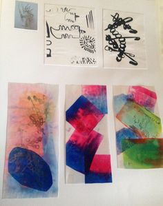 These are some textiles samples from my observational drawings and me creating final development samples with disperse dyes and using heat press.