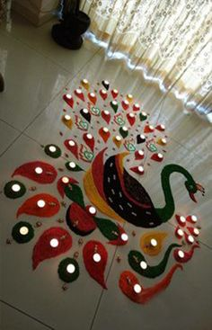 2018 Peacock Rangoli Designs For Diwali Here are the collection of Beautiful and Designer Peacock Rangoli with Very Creative Designs,for More Information Please Visit This Blog Post.. #Beautifulrangolidesigns #Rangoli #PeacockRangoliDesign