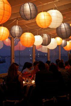 paper lantern - simple design, maybe purple instead of orange? or a light mango color