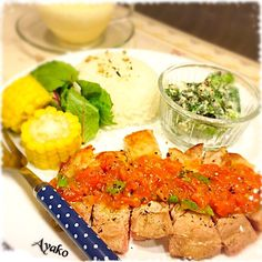 亜矢子's dish photo 今日は ワンプレートご飯 | http://snapdish.co #SnapDish #レシピ #晩ご飯 #サラダ #肉料理 #ポタージュ