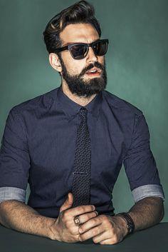 Blue shirt and tie . Model Ilias Petrakis . WWD Photography By Rodolfo Martinez . Menswear