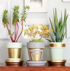 Hometalk :: vasos de terracota com ouro Leafing Large Flower Pots, Plastic Flower Pots, Cactus Flower, Flower Bookey, Flower Film, Diy Flowers, Modern Plant Stand, Diy Plant Stand, Pots D'argile