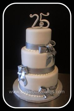 silver & white 25th anniversary cake by Sugar Buzz Cakes by Carol, via Flickr