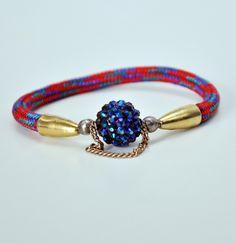 Red rope and rhinestone bead bracelet   kikinyc