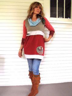 Upcycled Clothing Eco patchwork SHIRTcowl neck tunic long by zasra
