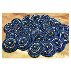 Teal and Purple Shank Bead Buttons ❤ liked on Polyvore featuring tops, purple top, vintage beaded top, blue top, button top and beaded top