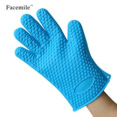 Orange Blue Red Rose Red Green Color Silicone Glove Cooking BBQ Oven Pot Holder Mitt kitchen Accessories Bakeware Tool 52106