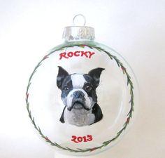 Boston Terrier Custom Pet Portrait Christmas Ornament by petzoup, $27.50