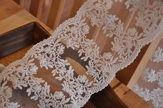 Embroidered Lace Fabric in Off White for Bridal Veil by lacetime