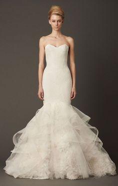 Featured Dress: Vera Wang; Wedding dress idea.