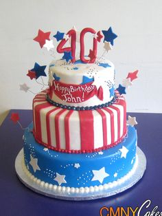 40th Red White and Blue Cake