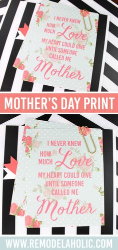 1085dde4078 Free printable Mother s Day quote for decorating or a gift -- Diy Mothers  Day Gifts