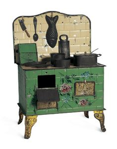 European tin plate stove with accessories