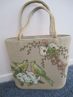 **SOLD** Beautiful 1960s JR Miami USA Julius Resnick Appliqued Woven Burlap Purse with birds and flowers.  Find it a TwinAntiques on Etsy.com for just $27.00. https://www.etsy.com/listing/188905202/1960s-jr-miami-usa-julius-resnick