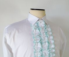 Vintage 1970's Ruffled Dickey / Detachable / Green by fourBvintage