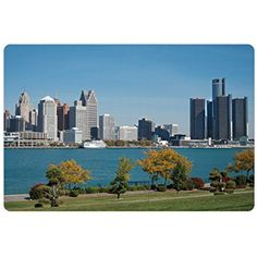Detroit Pet Mats for Food and Water by Ambesonne, Industrial City Center Shoreline River Scenic Panoramic View in a Sunny Day, Rectangle Non-Slip Rubber Mat for Dogs and Cats, Blue Green Silver ** To view further for this item, visit the image link. (This is an affiliate link) #DogFeedingWateringSupplies