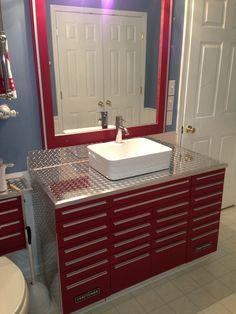 Craftsman tool box vanity with vessel sink man cave vanity, man cave bathroom, garage Garage Sink, Garage Bathroom, Bathroom Red, Diy Bathroom Remodel, Small Bathroom, Garage Bar, Bathroom Design Tool, Bathroom Vanity Designs, Bathroom Vanity Cabinets