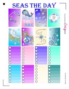 Free Seas the Day Happy Planner Printable Stickers from The Wonderful Life of the Crazy Mom