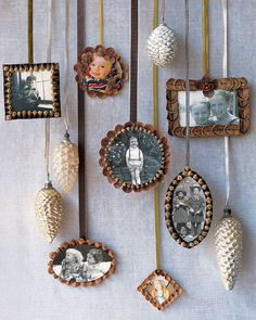 Photos displayed in pinecone frames demand a closer look; when hung on the tree, each ornament, like a page in a scrapbook, tells a story. A single ornament -- or a set -- makes a lovely keepsake to share with family members.