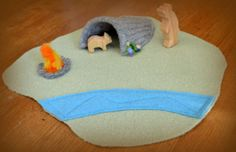 Waldorf Felted Wool Play Mat, Puppetry Scenery, Open-Ended Toy for Imaginative Play, Song and Season