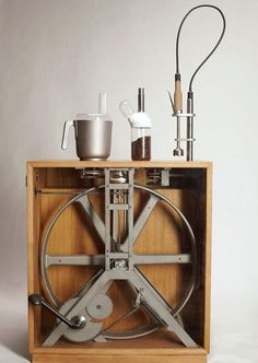 Pedal-powered all-in-one appliance - I was trying to figure out how to do something like this, now its done. Want this in my house. Would like the pedal to fold flat to or into the side of the cabinet.