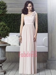 A-line One Shoulder Hand-Made Flower Sleeveless Floor-length Chiffon Bridesmaid Dresses (SZ0318301)